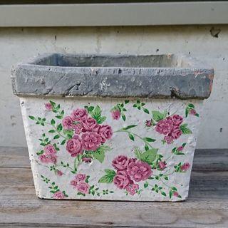 未使用 バラ模様 植木鉢 3個セット