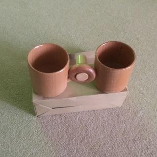 【新品、これが本当のペアカップ? 木製連結ペアマグ 】
