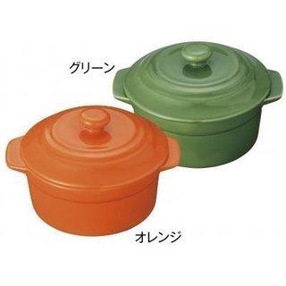 新品★かわいいレンジで簡単ココット鍋2色セット★オレンジ&グリー...