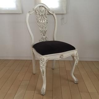 ≪フレンチアンティークロココ調家具≫ 白いダイニングチェア パ...