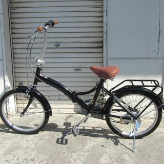折りたたみ自転車 20インチ ブラック 6段切替 鍵2個