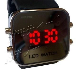 ◆新品50%off◆ミラータイプ  ブラックLED腕時計