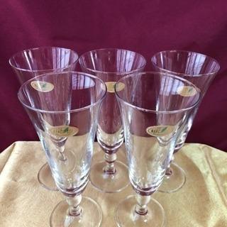未使用クリスタルワイングラス5客