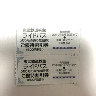 東武動物公園ライドパス優待券2枚セット !!!