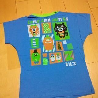 新品吸汗速乾天竺素材でかキャラ柄Tシャツ120青 ビッツ/Bit'z