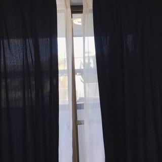 ニトリ 紺色カーテン&レース、アジャスターフック付け、幅100✖️丈200 cm✖️2枚 - 家具