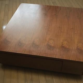 ローテーブル 天然木ウォールナット製 ブラウン