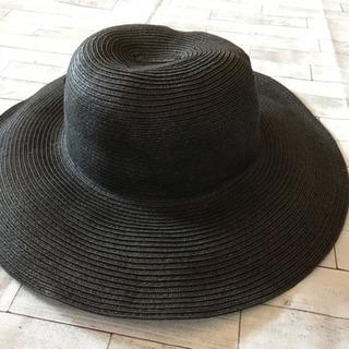 美品 リボンがかわいい黒帽子