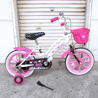 子供用自転車 Jrサイクル 16インチ 女の子用 カゴ/補助輪付き