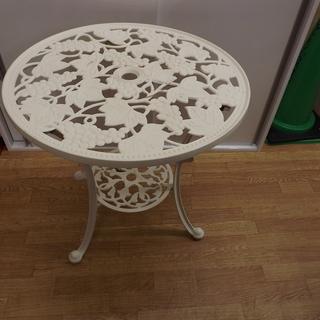 ガーデンテーブル テーブル 屋外 鋳物 庭 幅:60cm 白 札...