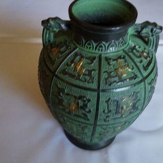 ☆花瓶 花器 置物 青銅色 地紋帯