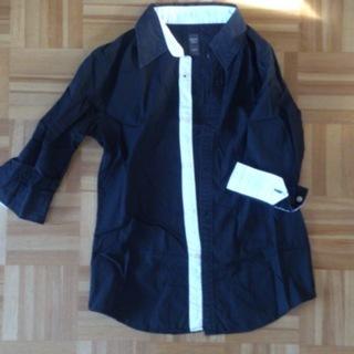 メンズ シャツ 黒色 七分袖 agate