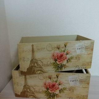薔薇柄 アンティーク 木製箱