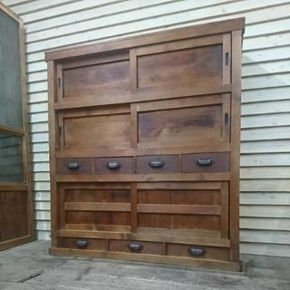 【木製 収納棚】水屋箪笥 食器棚 キャビネット シェルフ 木製 古...