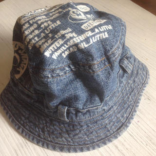 かわいいデニムの夏用 キッズ 帽子 ハット 50cm