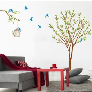 壁紙シール ウォールステッカー 樹木ステッカー 緑樹 鳥ステッカー...