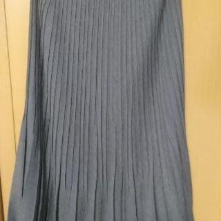 ロングプリーツスカート グレー M 日本製