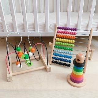 IKEA知育玩具3点セット玉ソロバンビーズコースター