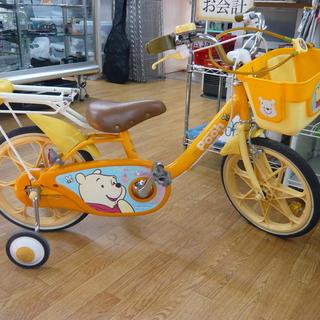 子供用自転車 くまのプーさん 16インチ 補助輪付き かじ取り付...
