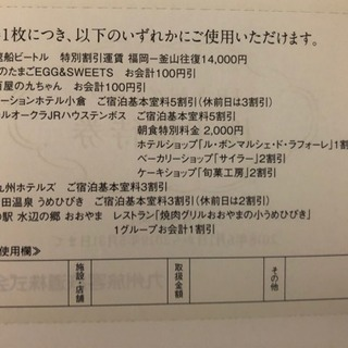 JR九州グループホテル割引券、JR九州鉄道優待券