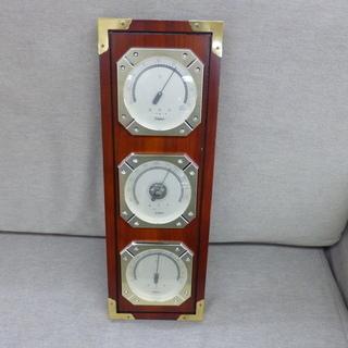 Empex 温度計・気圧計・湿度計 壁掛け 木製 エンペックス ...