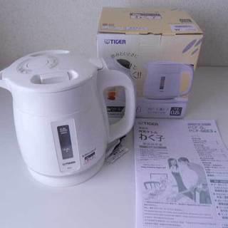 ■タイガー 電気ケトル 800ml ホワイト わく子 PCF-G...
