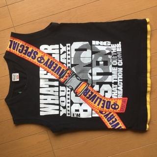 タンクトプ  Tシャツ 袖なし ノースリーブ 黒 140