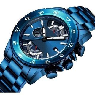 腕時計 メンズブルー ファッションビジネス 多機能 カジュアル ...