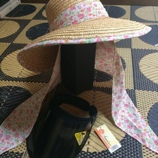 新品 2点 サンバイザー(黒) 麦わら帽子(日除けは取り外し可)