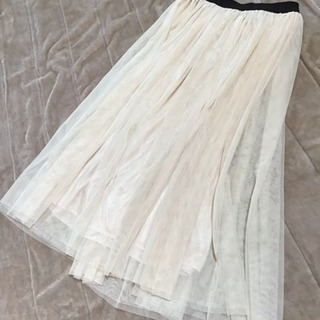 チュールスカート、オフホワイト、フリーサイズの画像