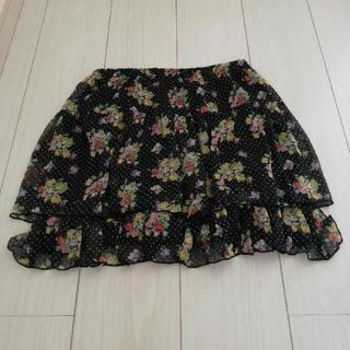 ミニスカート(黒×花) Mサイズ