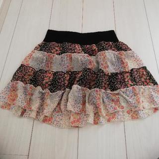 ミニスカート(黒×白×花) Mサイズ