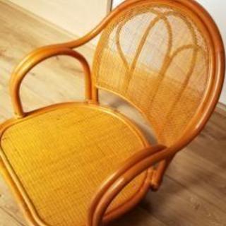 (美品)ラタン回転座椅子 - 家具