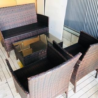 アジアン家具 ラウンジチェア テーブルのセット ラタンピール編み