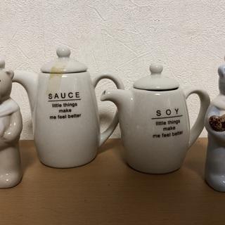 ★陶器製 調味料入れ【ソース入れ、醤油入れ、ソルト&ペッパー】4...