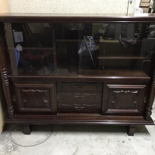 木製 サイドボード 飾り棚 茶箪笥 昭和レトロ 幅153cm×奥...