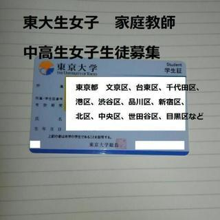 【短期可】東京大学四年生による個別指導【女子生徒募集】