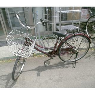 札幌 26インチ ママチャリ 自転車 3段変速 荷台 カギ ヘッ...