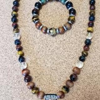 天然石アクセサリー   ネックレスとブレスレットの二点セット