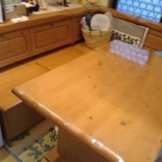 ダイニング用  テーブル&L型ベンチ椅子