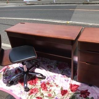 大丸木工 天然木 机+サイドテーブル+高さ調節可能な椅子 3点セット
