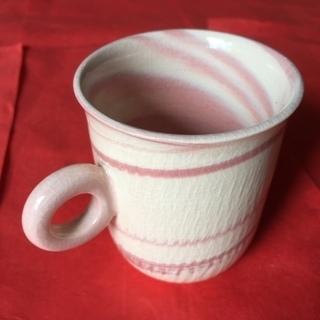 淡いピンクがやさしい 京焼 天野達夫作のめずらしい コーヒー・カップ