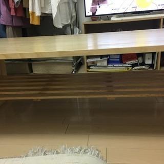 ローテーブル  120×60cm ナチュラル 2段目付き