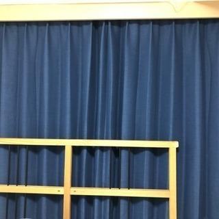 <受付終了>【カーテン 2枚セット】遮光カーテン(ネイビー)×レー...