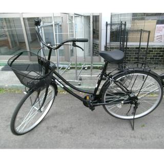 札幌 26インチ ママチャリ 自転車 ブラック/黒 荷台 カギ付...