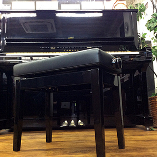 ピアノ椅子 黒 高低自在 両側木製ハンドル