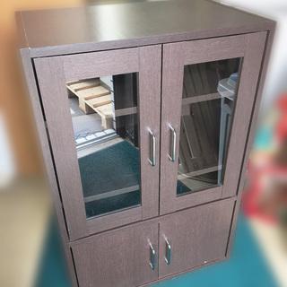 【自社配送は札幌市内限定】食器棚 キッチン収納 ブラウン 木製 ...