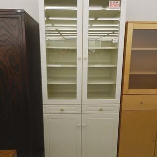 大型食器棚 幅約84㎝ ホワイト ガラスドア キッチン収納 大き...