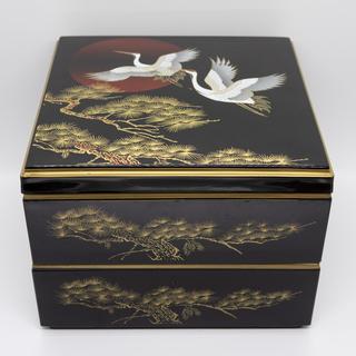 【珍品】鶴と松 二段重箱 お弁当箱
