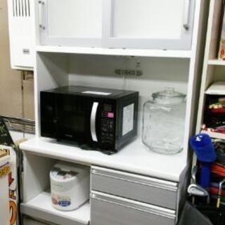 食器棚 レンジボード 幅90cm ホワイト シルバー